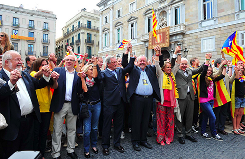 Another view of the human chain of September 11, the National Day of Catalonia