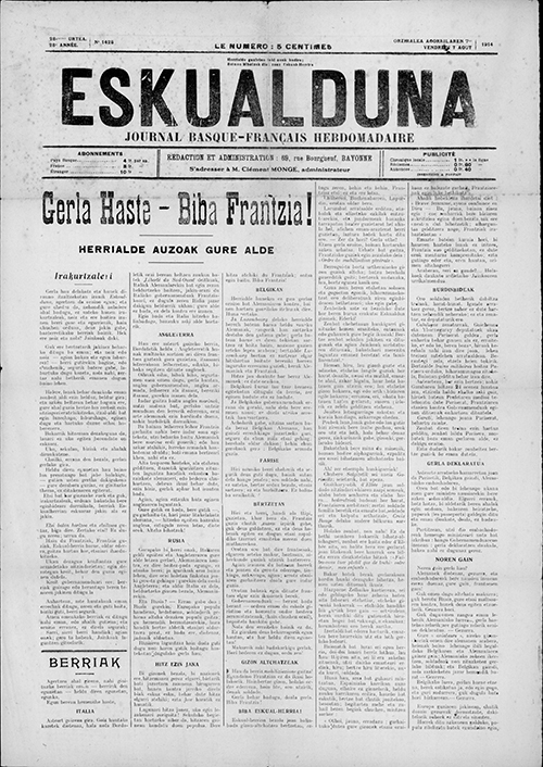Cover of the August 7, 1914 Eskualduna bilingual magazine published in Bayonne.