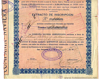 Certificate of participating shares in the Compañía Naviera Guipuzcona. Photo: wikimedia