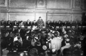 2nd Congress of the European Union of Federalists. Rome, November 1948.  The Basque figure F.J. Landaburu at the presidential table.