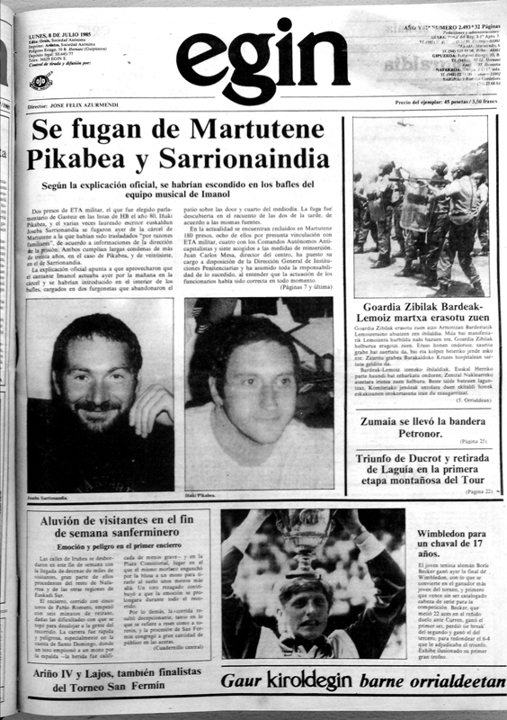 Cover of the Basque press after the historic Martutene Prison Escape in 1985 (the Basque Country.) Photo: Elkar