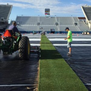 Preparations at Albertsons Stadium for an historic match. Photo: Basque Soccer Friendly
