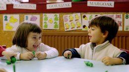 BASQUE SCHOOL CHILDREN PLAY UNDER BANNERS IN EUSKERA